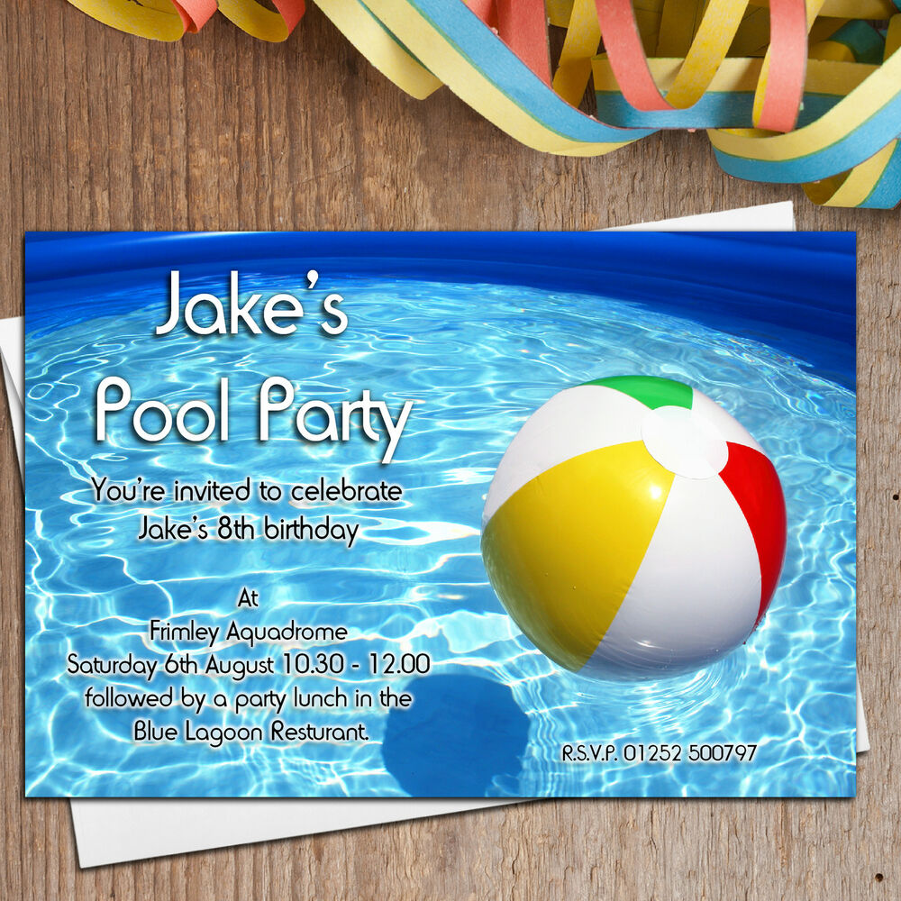 10 Personalised Girls Boys Swimming Pool Birthday Party Invitations Invites N17 Ebay