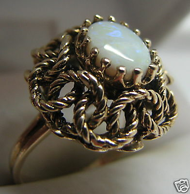 Royal Vintage 14k Gold Opal Filigree Ring Ebay