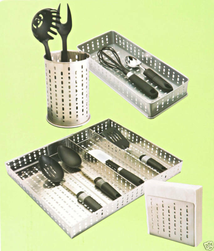 Utensil Tray Holder Cutlery Punched Metal Kitchen Set Ebay