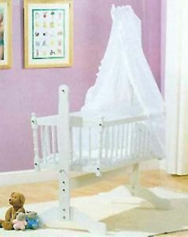 White Broderie Anglais 3piece Swinging Crib Bedding Set Ebay