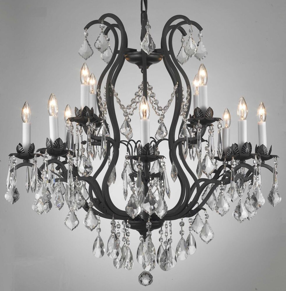 12 LIGHT CRYSTAL & WROUGHT IRON CHANDELIER DINING OR
