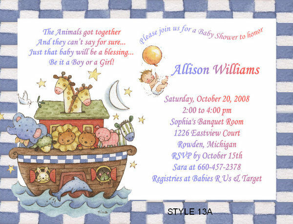 Details About Noah S Ark Noahs Animals Baby Shower Invitations