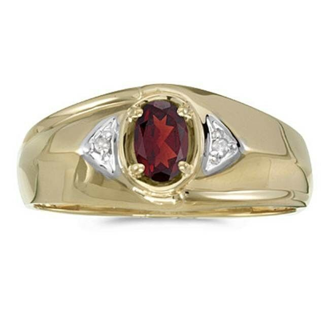 mens genuine garnet and diamond ring 10k yellow gold ebay. Black Bedroom Furniture Sets. Home Design Ideas
