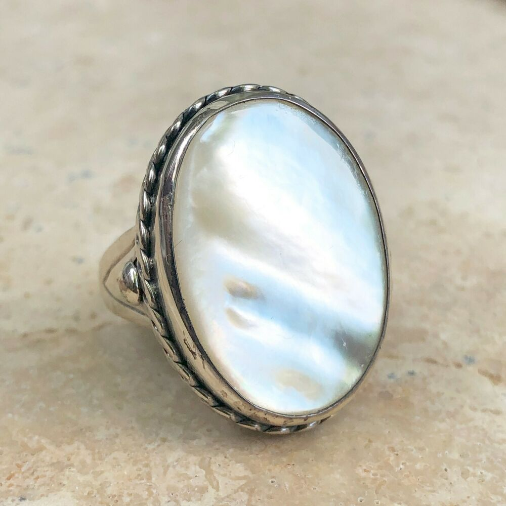 Sterling Silver Amp Genuine Mother Of Pearl Large Ring New