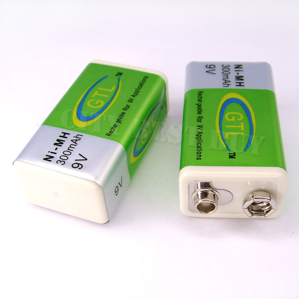 2x 9v 9 volt 300mah nimh recharge rechargeable battery ebay. Black Bedroom Furniture Sets. Home Design Ideas