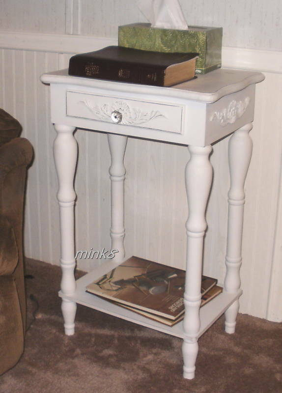 Beautiful distressed white wood end table or nightstand Beautiful end tables