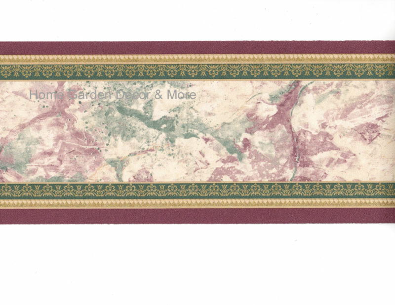 Faux Marble Stone Burgundy Green Gold Wall Paper Border Ebay