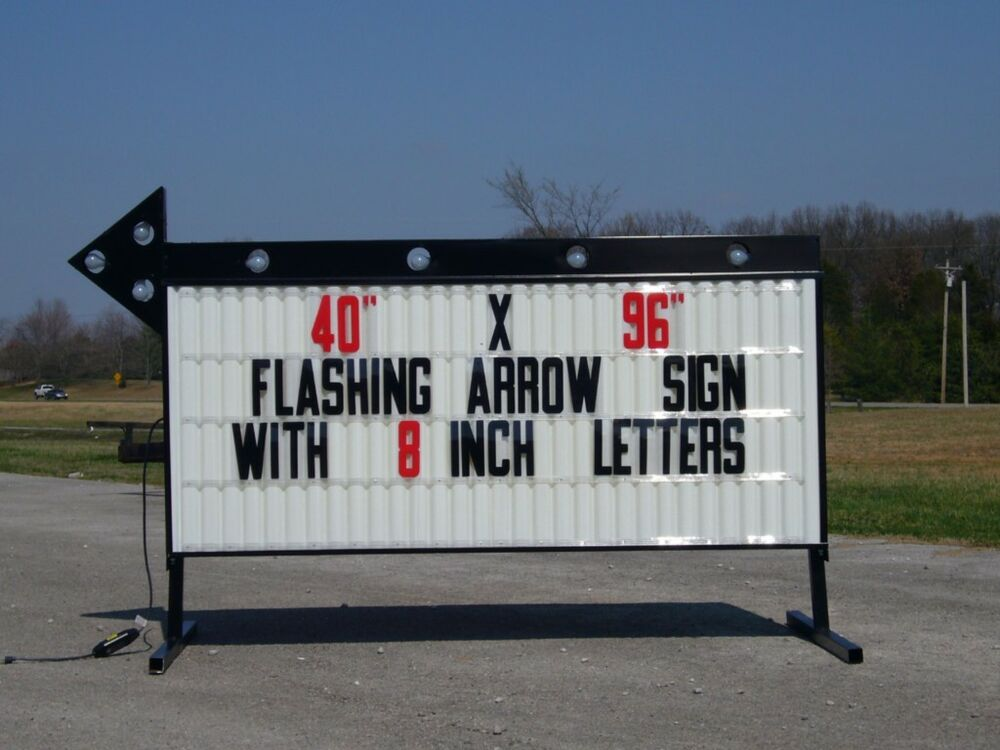 new flashing portable lighted arrow sign w letters ebay With lighted sign letters for sale