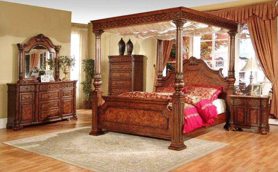 4 Post Queen Bedroom Set Canopy Bed Furniture Marble Top Nightstand King S