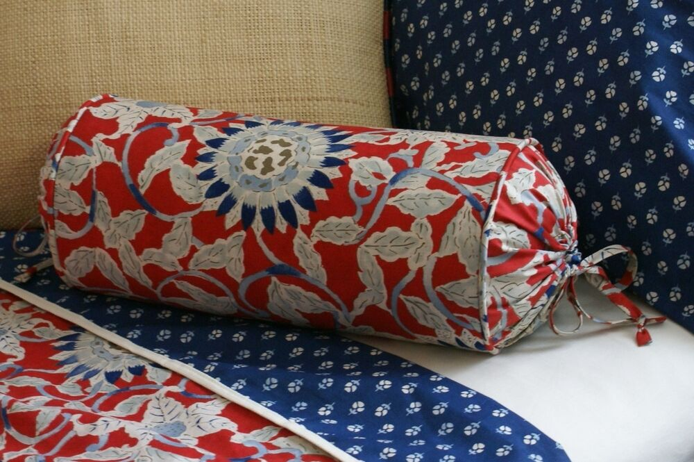 Decorative Bed Roll Pillows : NEW Custom Ralph Lauren Cote D Azur Red Floral Neck Roll Pillow Neckroll eBay