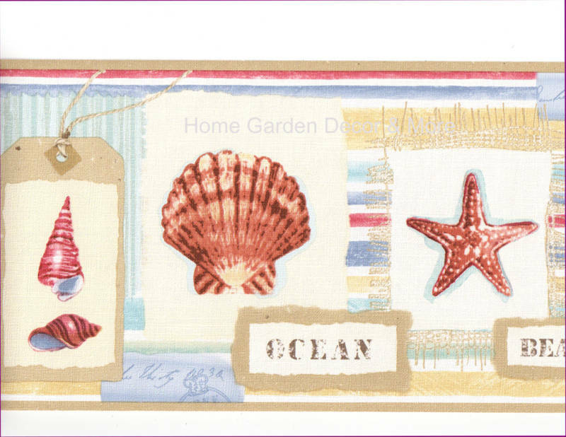 Sea shell memories beachcomber starfish bathroom wall paper border ebay