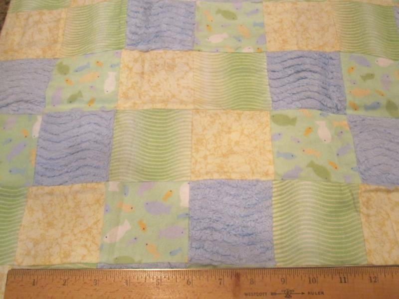 Finished sewn patches quilt fabric fish stripe gr yel ebay for Fish fabric for quilting