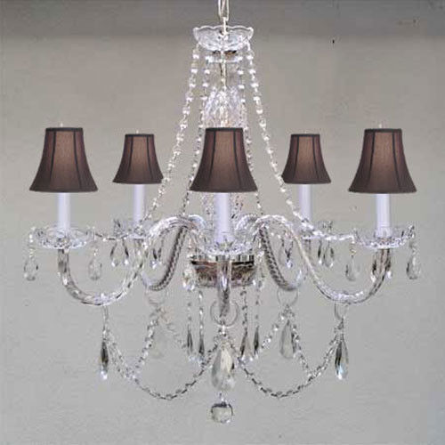 New Authentic All Crystal Chandelier W Black Shades Ebay