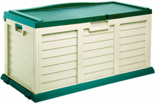 PLASTIC GARDEN STORAGE BOX CHEST WITH GREEN SIT ON LID | eBay