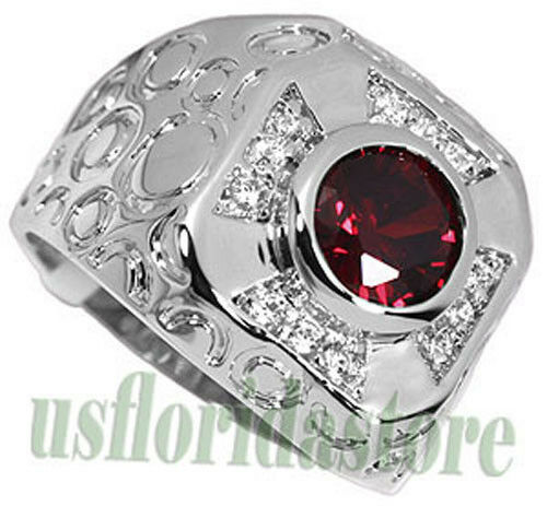 maltese fire cross red garnet silver rhodium plated mens. Black Bedroom Furniture Sets. Home Design Ideas