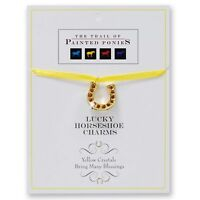 """TRAIL OF PAINTED PONIES Horseshoe Charm Yellow Crystals~18""""Ribbon~Many Blessings"""