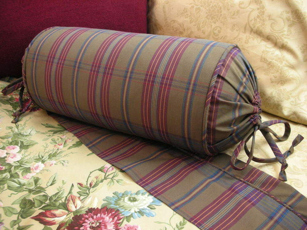 Decorative Bed Roll Pillows : NEW Custom Ralph Lauren Adriana Plaid Neck Roll Pillow Neckroll Bolster eBay