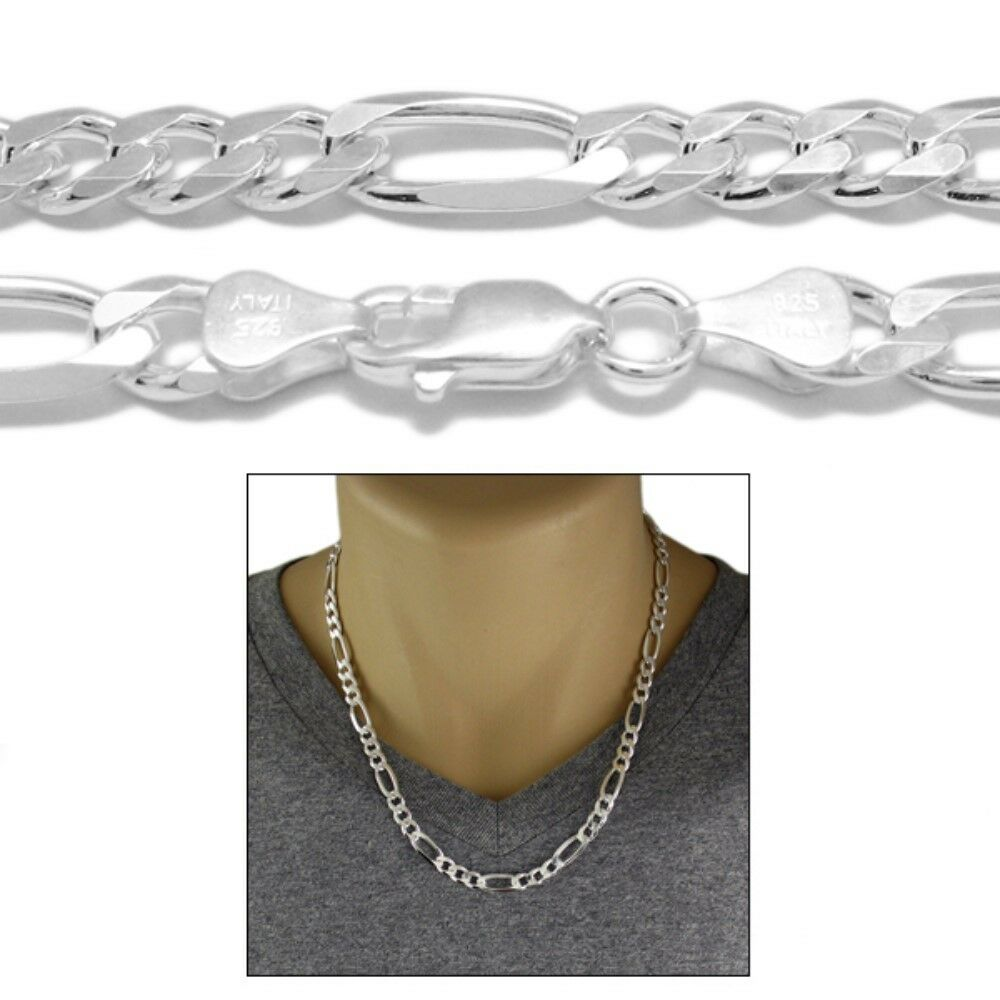 Sterling Silver Figaro Link Chain Necklace 7mm 180 Ebay