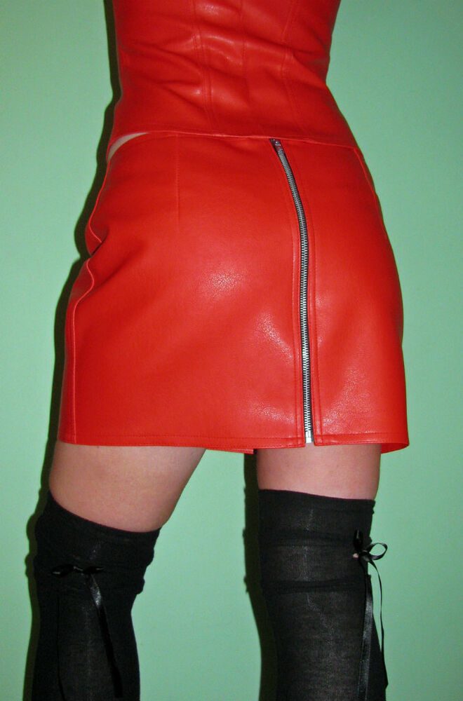 skin tight clothing faux leather zip mini skirt