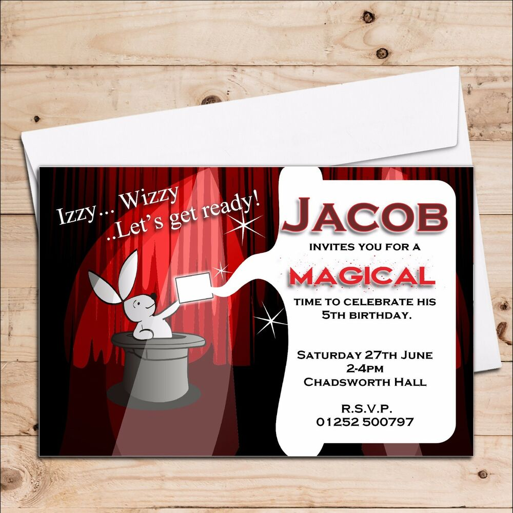 10 Personalised Magic Magician Childrens Boy Girl Birthday Party ...