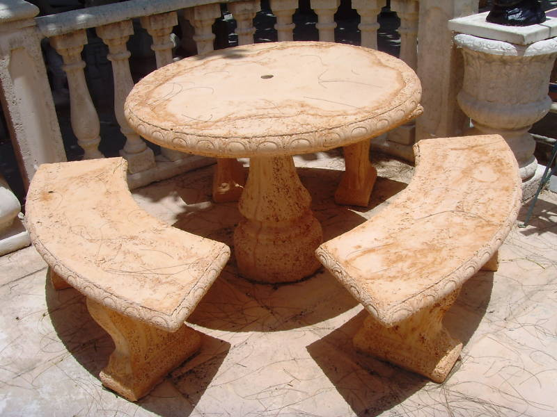 Concrete Cement Tables With 3 Benches 269 Picnic Tables Garden Outdoor Ebay