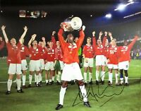 ANDY COLE SIGNED MANCHESTER UNITED 1999 CHAMPIONS LEAGUE 16x12 PHOTOGRAPH PROOF