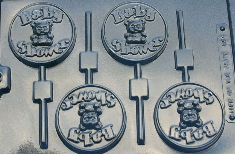baby shower with bear lollipop chocolate candy mold molds shower favor