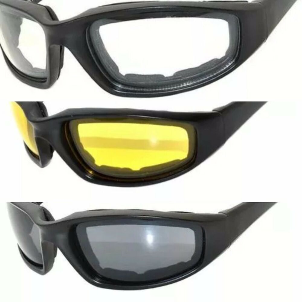 2db272466a4 Details about Motorcycle Goggles Glasses Sunglasses Padded Eva Foam  Clear-Smoke-Yellow Lenses