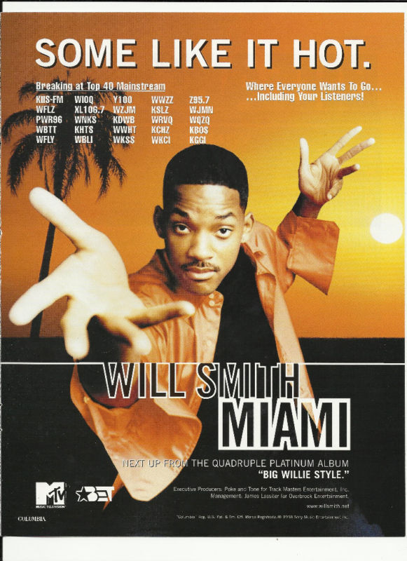 will smith miami trade ad poster of big willie style cd