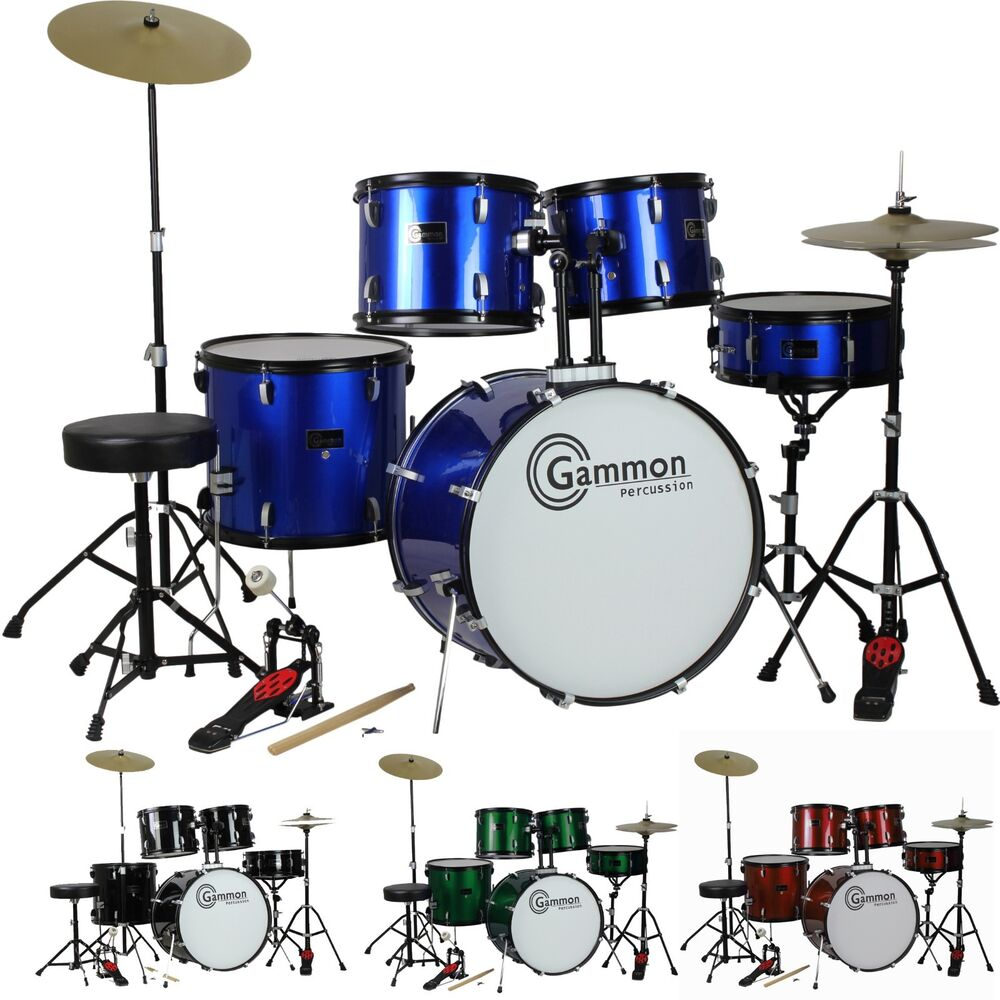 new full size 5 piece drum set with cymbals stands stool sticks gammon ebay. Black Bedroom Furniture Sets. Home Design Ideas