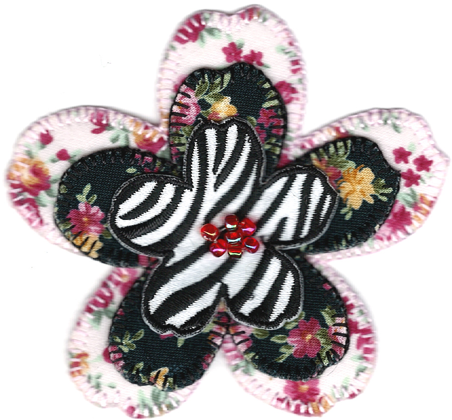 Pink black zebra flower embroidery applique patch ebay