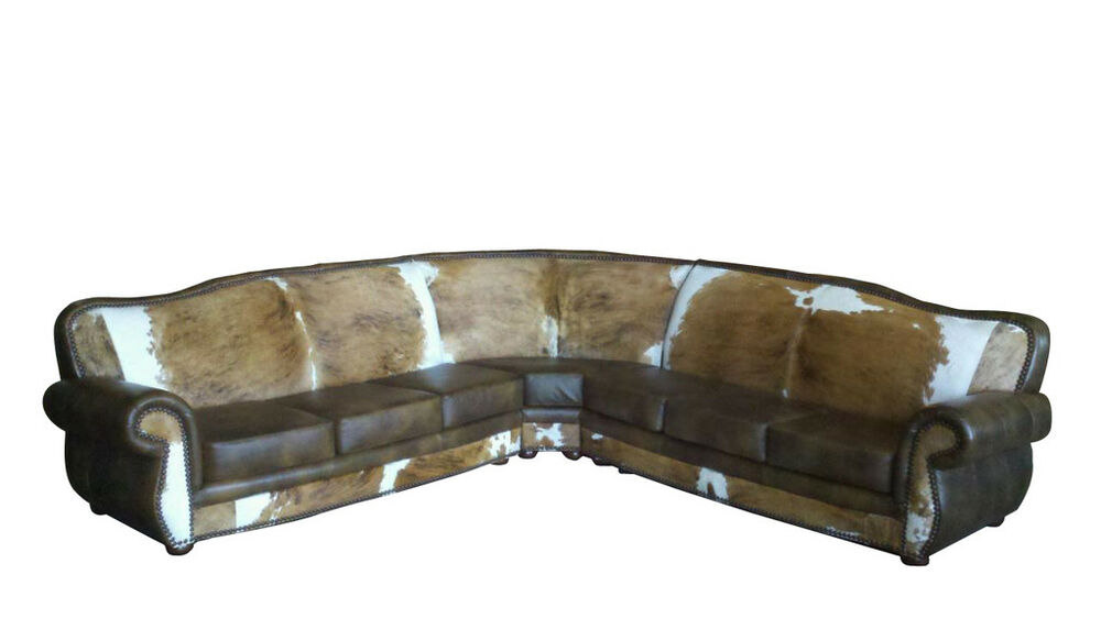 Leather And Cowhide Sectional - Western Style