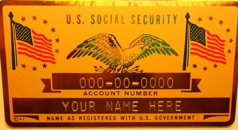 metal social security id card flags - gold color