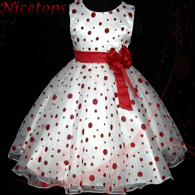 Reds polka dot christmas pageant wedding party flower girls dresses