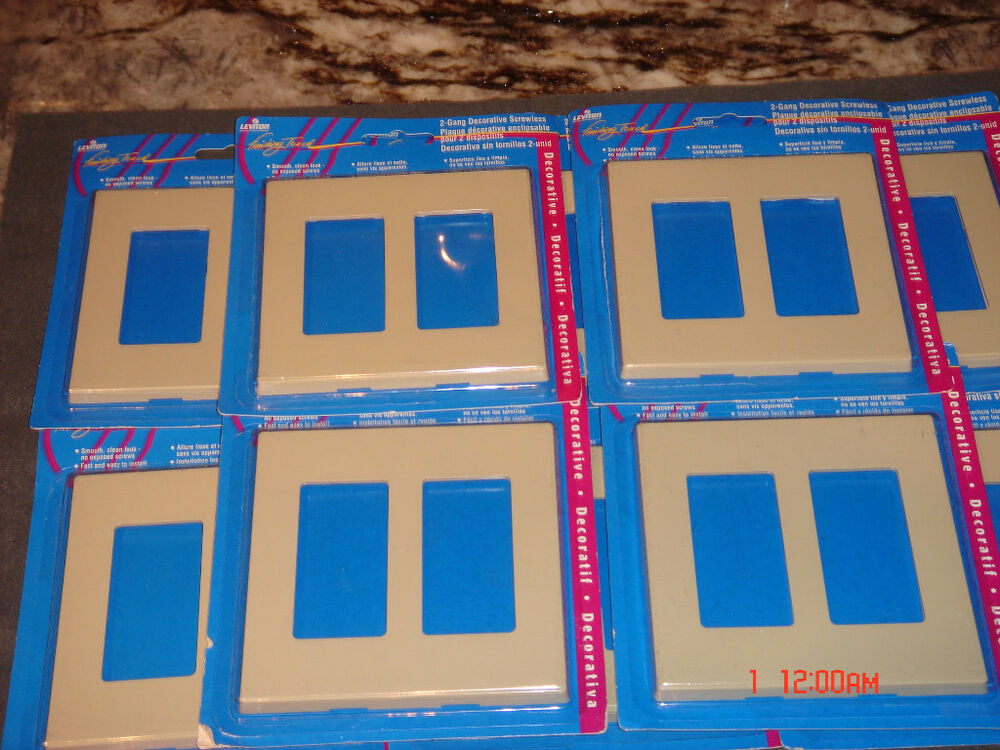5 Leviton Screwless Snap On Wallplate Almond 2 Gang