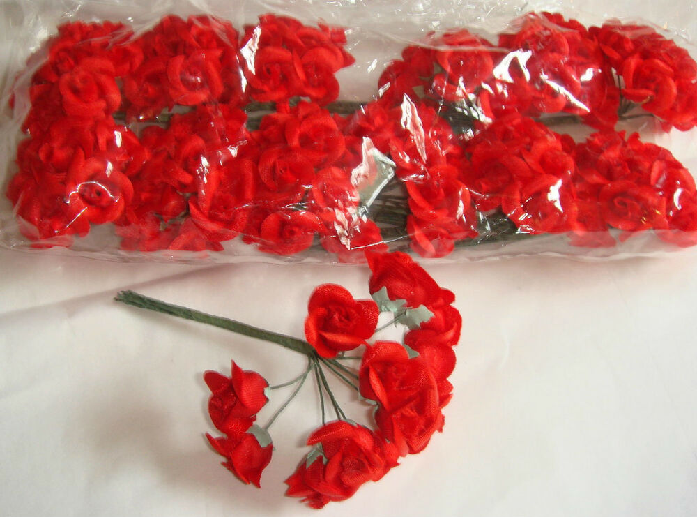 144 silk craft small flowers red wedding bridal roses ebay for Small flowers for crafts
