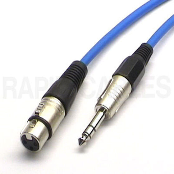 balanced mic lead xlr female to stereo trs jack 2m blue microphone cable ebay. Black Bedroom Furniture Sets. Home Design Ideas