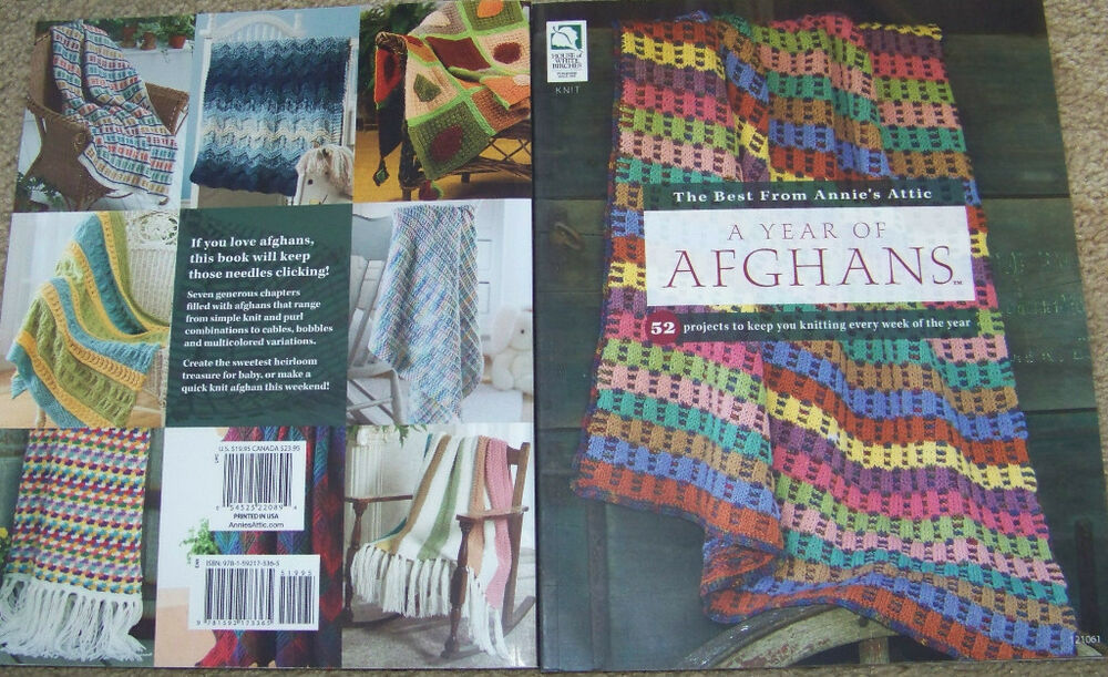 House of White Birches A YEAR OF AFGHANS knitting afghan pattern book ON SALE...