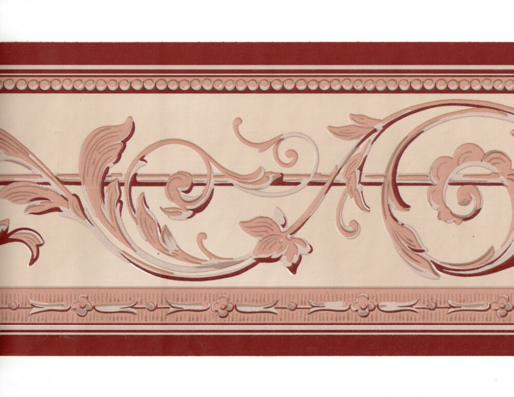 Architectural brick red acanthus leaf scroll wall paper border ebay