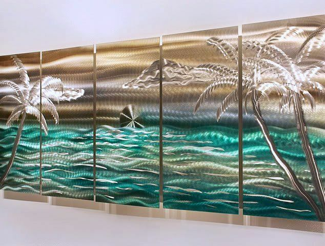 Modern abstract tropical metal wall art decor silver gold for Tropical metal wall art