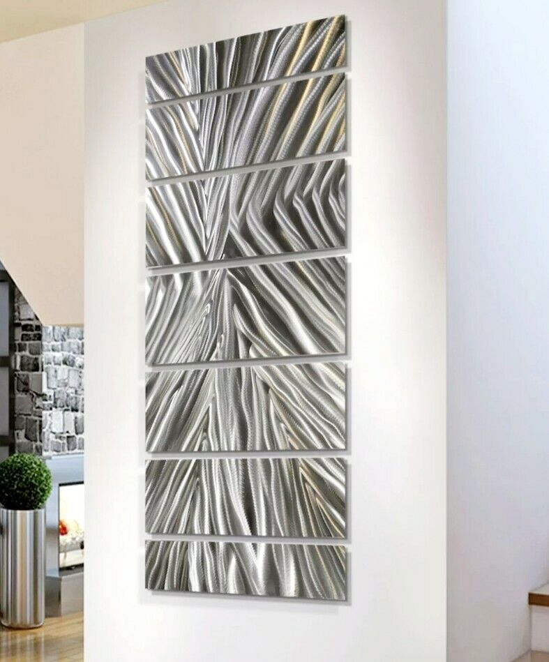 Large Modern Abstract Silver Metal Wall Art Decor Office
