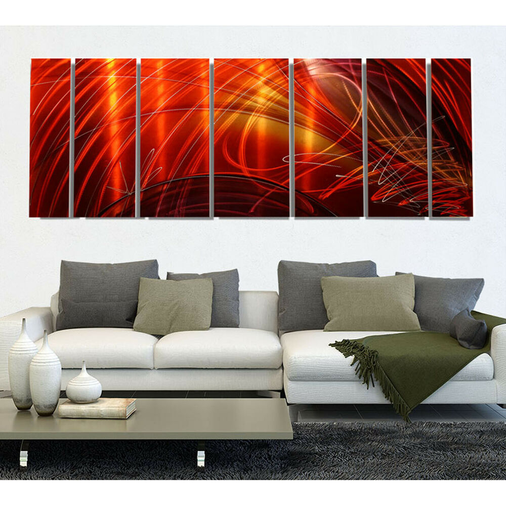 Huge Contemporary Hand Painted Red Metal Wall Art Office Decor Tail ...