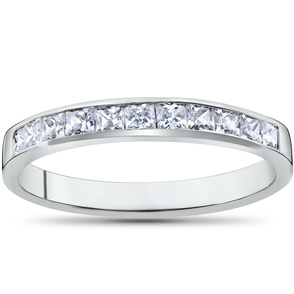 Princess Cut Diamond Wedding Band: Princess Cut 1/2ct Diamond Wedding Anniversary 14K White