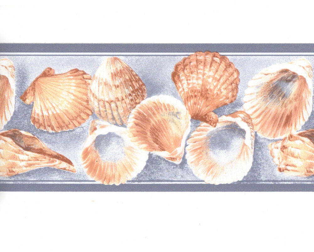 blue sea shell seashell bathroom wall paper border eh99900 ebay. Black Bedroom Furniture Sets. Home Design Ideas