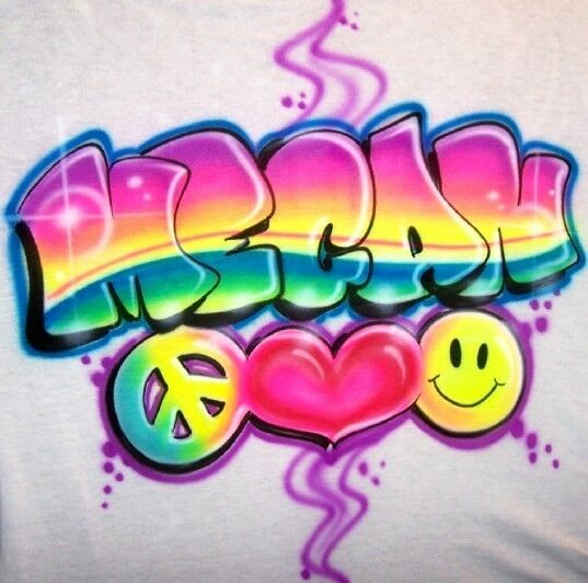 Airbrush Peace Love Happiness T Shirt w/any Name or color ...