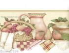 Country Kitchen Fruit Basket Pitcher Shelf Plaid Rose Pink Wall paper Border