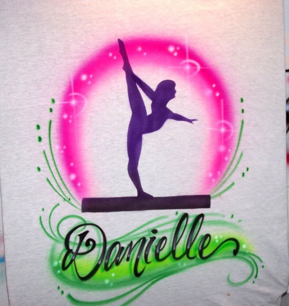 Gymnast custom airbrushed personalized shirt gymnastics for Custom made airbrushed shirts