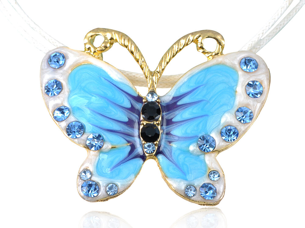 Blue Butterfly Jewelry: Painted Enamel Colorful Blue Crystal Rhinestones Butterfly