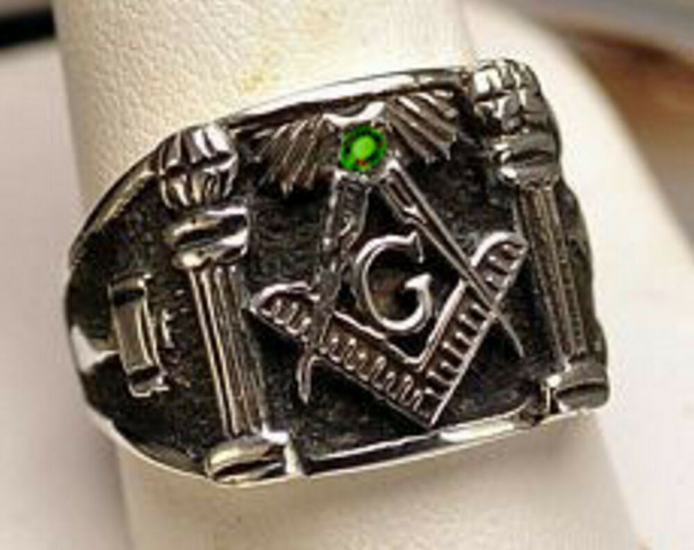authentic sterling silver 925 emerald masonic ring