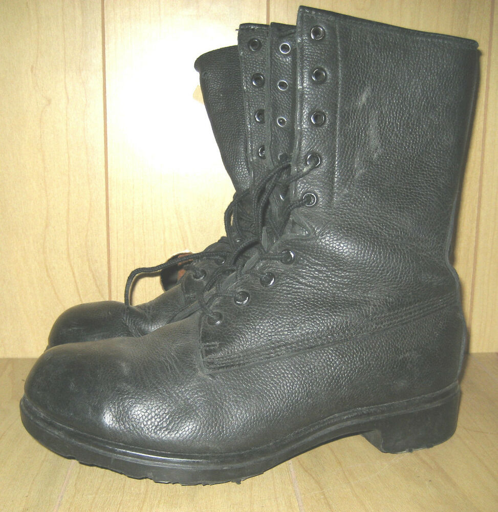 genuine canadian army pebbled leather combat boots unlined